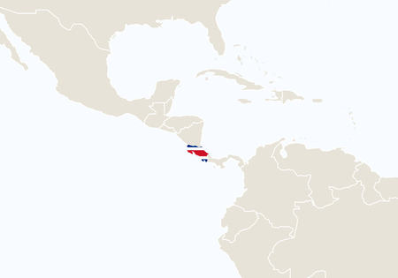 costa rica: South America with highlighted Costa Rica map. Vector Illustration. Illustration