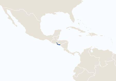 mapa de el salvador: Am�rica del Sur con el mapa destacado de El Salvador. Ilustraci�n del vector. Vectores