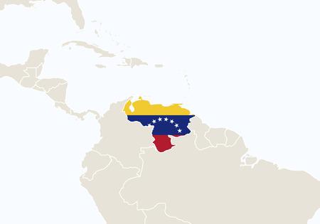 mapa de venezuela: Am�rica del Sur con la correspondencia de Venezuela resaltado. Ilustraci�n del vector.