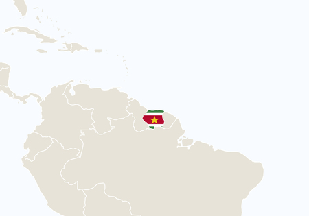 South America with highlighted Suriname map. Vector Illustration.