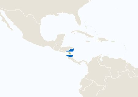 South America with highlighted Nicaragua map. Vector Illustration.