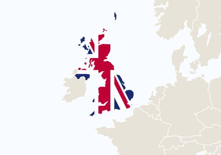 ireland cities: Europe with highlighted United Kingdom map. Vector Illustration. Illustration