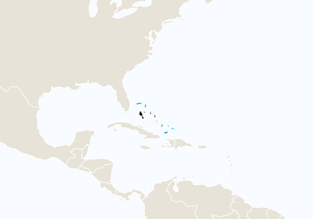 bahamas map: North America with highlighted The Bahamas map. Illustration.