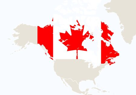 north america: North America with highlighted Canada map. Illustration.