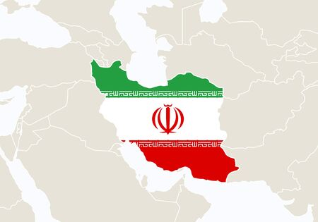 world flag: Asia with highlighted Iran map. Illustration. Illustration