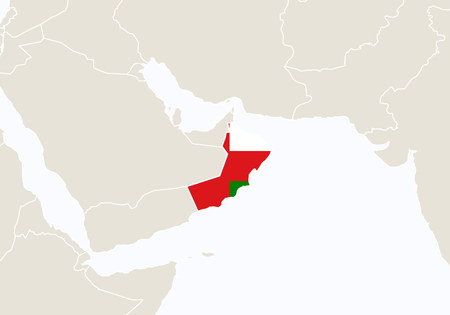land mark: Asia with highlighted Oman map. Illustration.