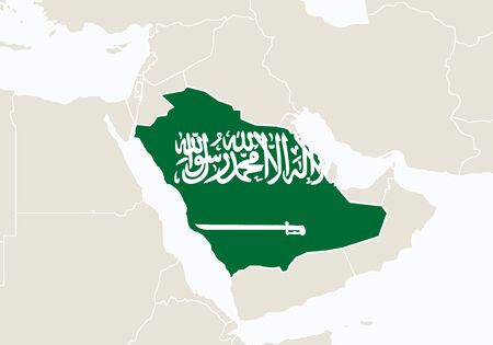 Asia with highlighted Saudi Arabia map. Illustration.