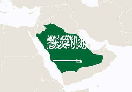 Asie, avec en surbrillance la carte Arabie Saoudite. Illustration.