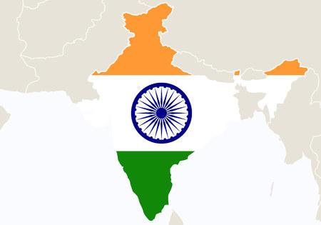 bandera de la india: Asia con un mapa de la India resaltado. Ilustración.