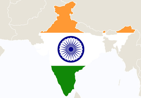 Asia with highlighted India map. Illustration.