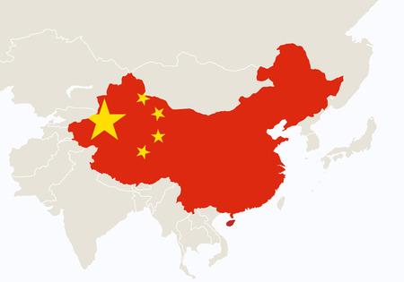 Azië met gemarkeerde China kaart. Illustratie.