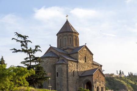 tbilisi: View on Metekhi Church in Tbilisi, Georgia. Old Tbilisi.