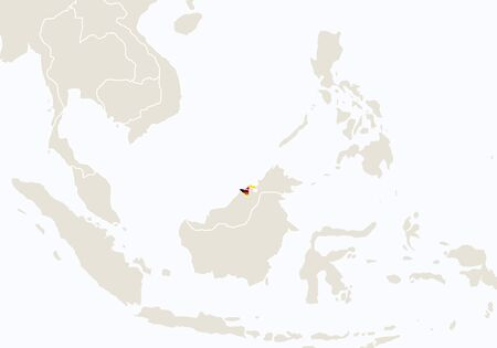 map of brunei: Asia with highlighted Brunei map. Vector Illustration. Illustration