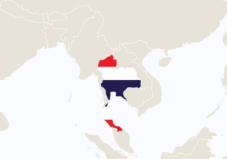 Asia with highlighted Thailand map. Vector Illustration.