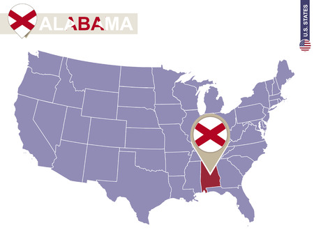 alabama state: Alabama State on USA Map. Alabama flag and map. US States. Illustration