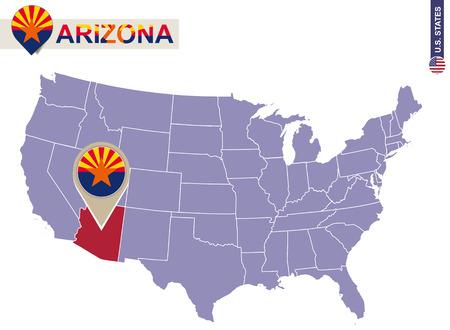 chandler: Arizona State on USA Map. Arizona flag and map. US States. Illustration