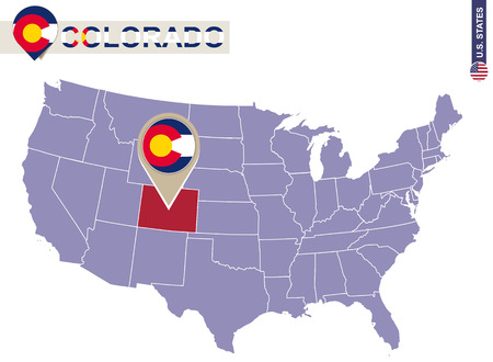 collins: Colorado State on USA Map. Colorado flag and map. US States.