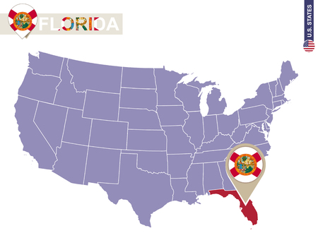 florida state: Florida State on USA Map. Florida flag and map. US States.