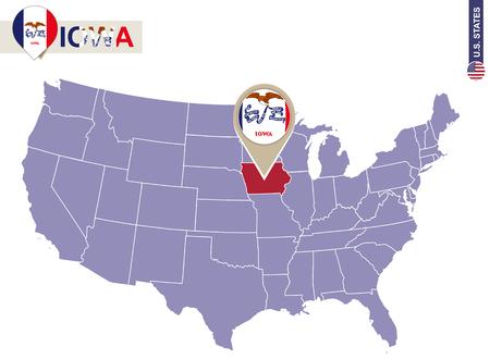 Iowa State on USA Map. Iowa flag and map. US States. Illustration