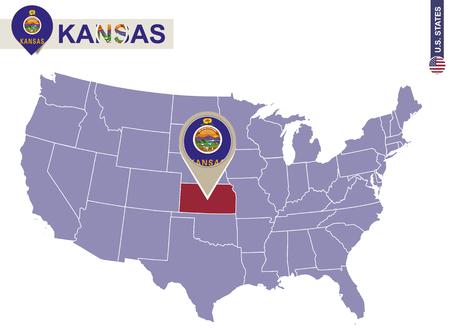 Kansas State On Usa Map Kansas Flag And Map Us States Royalty Kansas In Us