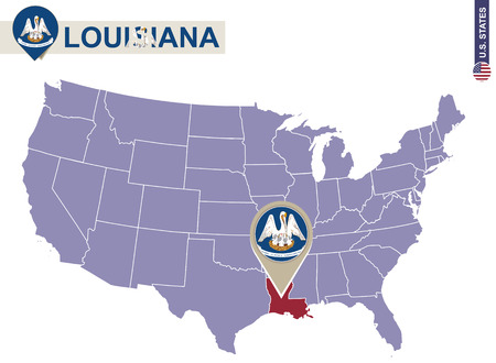 louisiana state: Louisiana State on USA Map. Louisiana flag and map. US States. Illustration