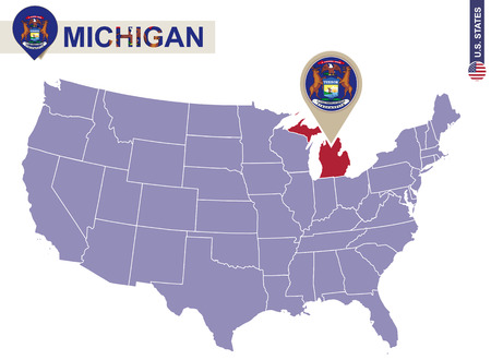 michigan flag: Michigan State on USA Map. Michigan flag and map. US States.