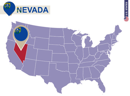 carson city: Nevada State on USA Map. Nevada flag and map. US States.