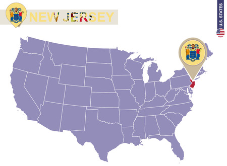 jersey city: New Jersey State on USA Map. New Jersey flag and map. US States. Illustration
