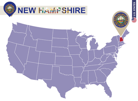 New Hampshire State on USA Map. New Hampshire flag and map. US States.