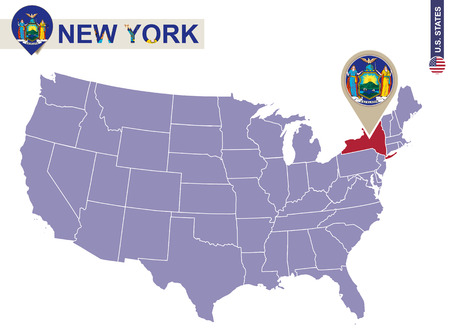 albany: New York State on USA Map. New York flag and map. US States.