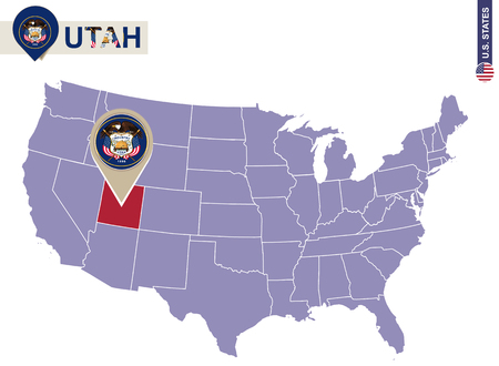 Utah State On USA Map Utah Flag And Map US States Royalty Free - Us map utah