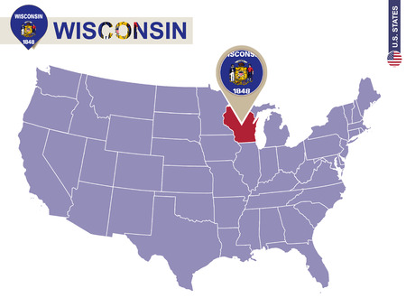 wisconsin flag: Wisconsin State on USA Map. Wisconsin flag and map. US States. Illustration