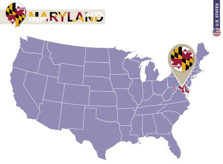 maryland flag: Maryland State on USA Map. Maryland flag and map. US States. Illustration