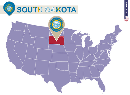 dakota: South Dakota State on USA Map. South Dakota flag and map. US States.