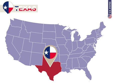 texas state flag: Texas State on USA Map. Texas flag and map. US States.