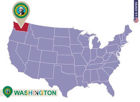 washington state: Washington State on USA Map. Washington flag and map. US States.