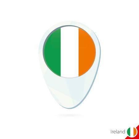 bandera irlanda: Irlanda del icono del pin de mapa de ubicaci�n de la bandera en el fondo blanco. Ilustraci�n del vector.