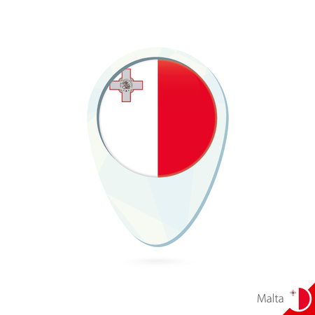 malta flag: Malta flag location map pin icon on white background. Vector Illustration.