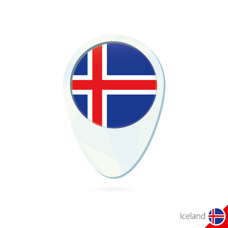iceland flag: Iceland flag location map pin icon on white background. Vector Illustration.