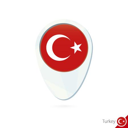 turkey flag: Turkey flag location map pin icon on white background. Vector Illustration.