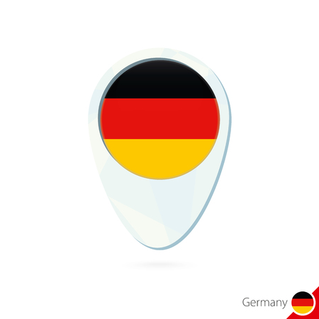 germany flag: Germany flag location map pin icon on white background. Vector Illustration.