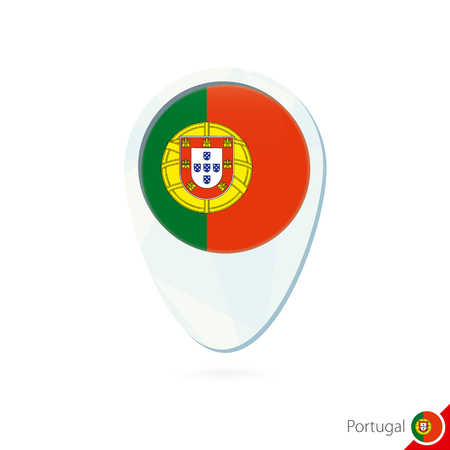 portugal flag: Portugal flag location map pin icon on white background. Vector Illustration.