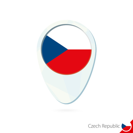 czech republic flag: Czech Republic flag location map pin icon on white background. Vector Illustration.