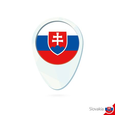 slovakia flag: Slovakia flag location map pin icon on white background. Vector Illustration.