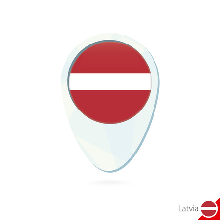 latvia flag: Latvia flag location map pin icon on white background. Vector Illustration.