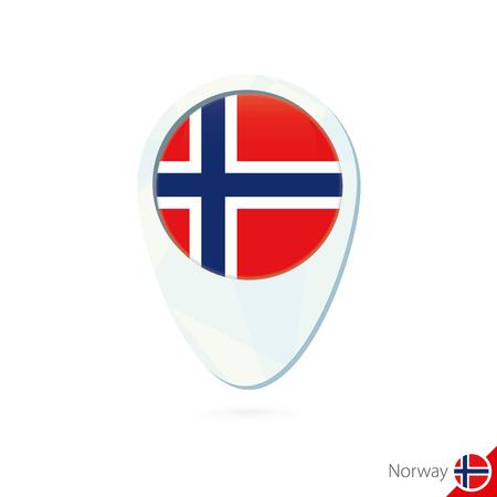 norway flag: Norway flag location map pin icon on white background. Vector Illustration. Illustration