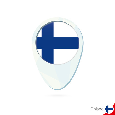 FINLAND flag: Finland flag location map pin icon on white background. Vector Illustration.
