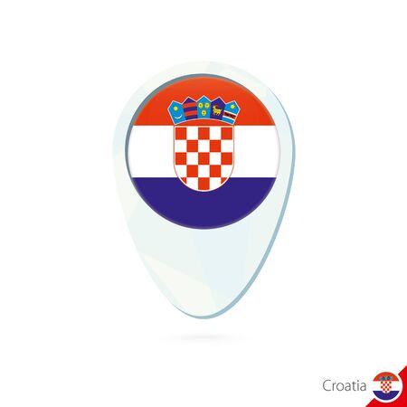 bandera croacia: Croacia icono pin de mapa de ubicación de la bandera en el fondo blanco. Ilustración del vector. Vectores