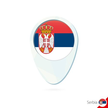 serbia flag: Serbia flag location map pin icon on white background. Vector Illustration.