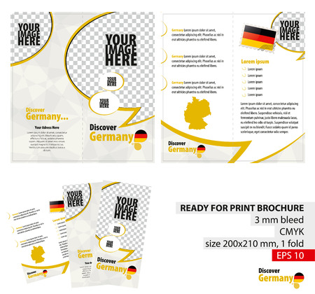 bleed: Brochure Design Template, Discover Germany. Ready for Print, 3 mm Bleed. Flayer, Leaflet, Booklet Template. Vector Illustration.